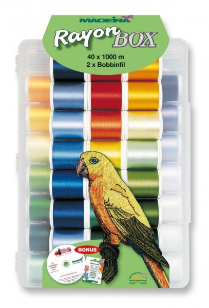 Madeira Rayon Stickgarn-Box 40 Farben 1000m