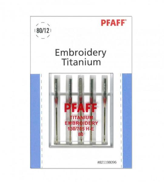 Pfaff Embroidery-Titanium-Nadel Stärke 80 System 130/ 705H-E - 5 Nadeln
